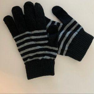 Black and white striped gloves